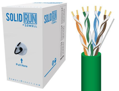 (Sewell Direct SW-29875-503 SolidRun by Sewell Cat5e Bulk Cable, 500-Feet, Green)