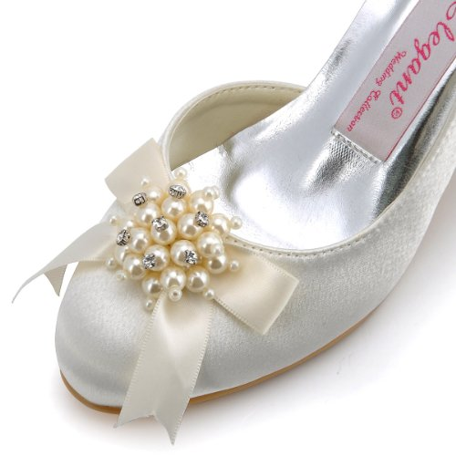 ElegantPark 100114 Women Round Toe Prom Pearl Rhinestones Bow Low Heels Satin Party Wedding Court Shoes Ivory 7raokLk