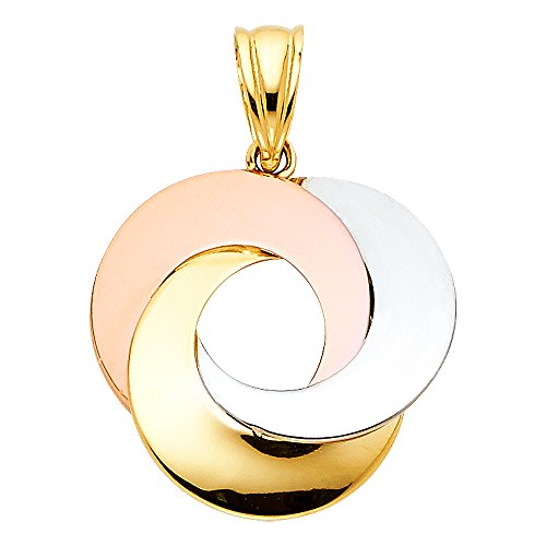 Solid 14k Yellow White Rose Gold Love Circle Pendant Love Knot Charm Genuine Tri Color 19 x 19 mm