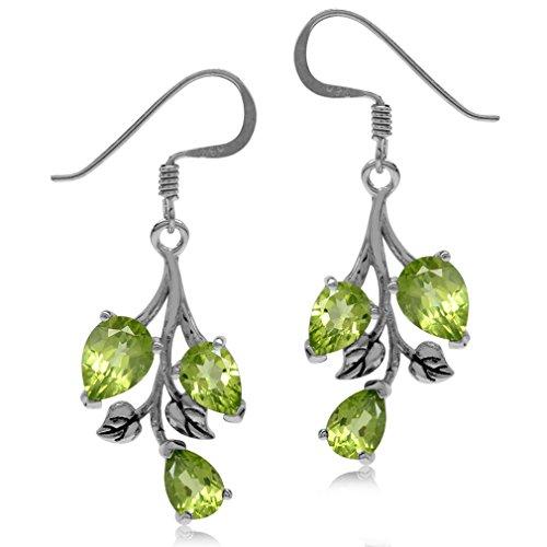 Vs1 Earring (5.52ct. Natural Peridot 925 Sterling Silver Leaf Dangle Hook Earrings)