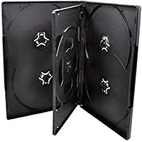 50 Pack Maxtek Standard 14mm Black Six (6) Disc DVD Cases with Double Sided Flip Tray and Outter Clear Sleeve