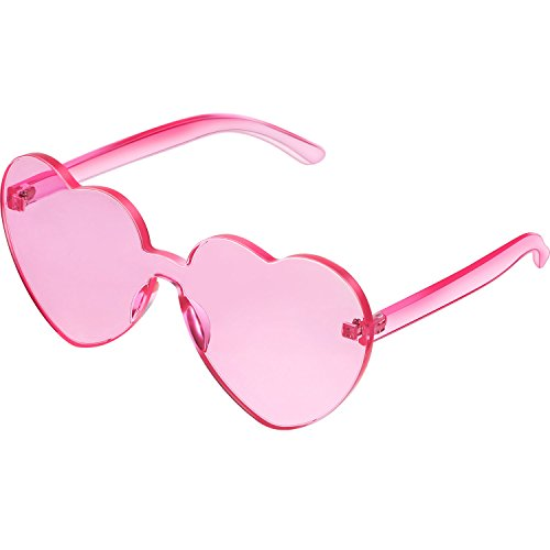 Maxdot Heart Shape Sunglasses Party Sunglasses (Transparent Pink)