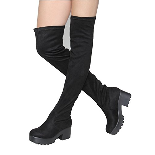 Womens Thigh High Platform Boots Sexy Chunky Block Heel Stretch Pull on Over The Knee Tall Boots Black 6
