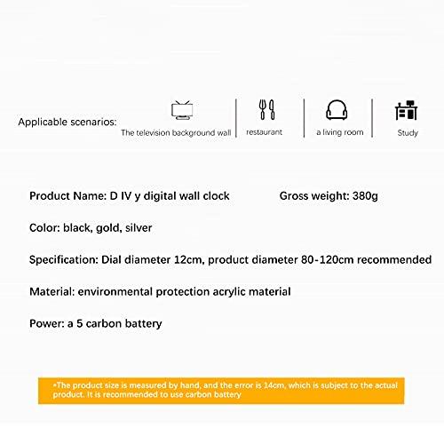 31-47 Inch Reloj Silencioso Number DIY 3D Reloj de Pared Cuarzo Decoración de la Oficina en Casa Reloj de Arte Vinilos Decorativos Artísticos(A)