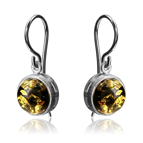 Green Amber Sterling Silver Round Earwire ()