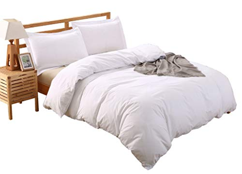100-Percent Cotton Duvet Cover Set, Hidden Zipper Closure, Ultra Soft and Easy Care, Durable and Fade Resistant, King, White