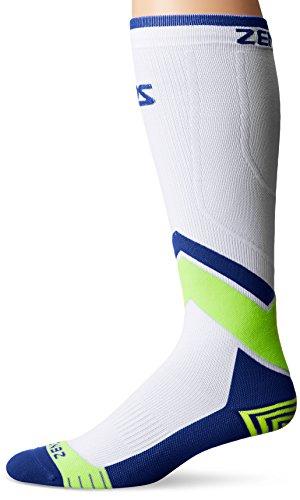 Zensah Pop Tech+ Compression Graduated Compression Socks, White/Blue/Yellow, Large