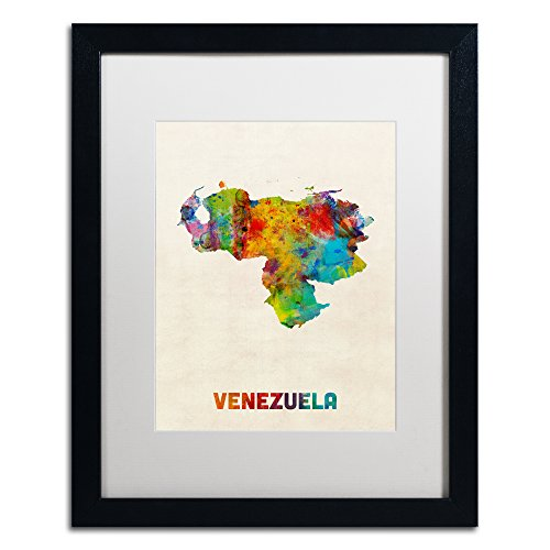 Venezuela Watercolor Map by Michael Tompsett, White Matte, Black Frame 16x20-Inch