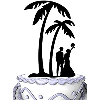 Amazon Com Beach Palm Tree Wedding Cake Toppers Bride And