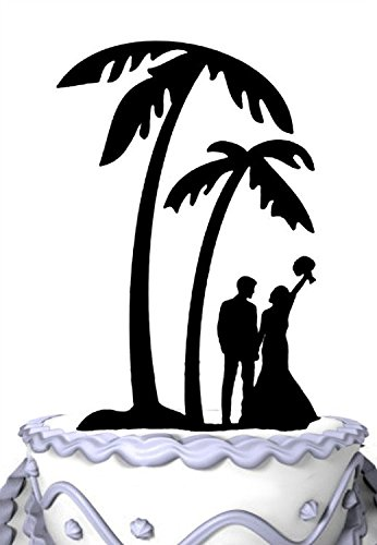 Meijiafei Bride and Groom Under Palm Tree in Beach Wedding Cake - Wedding Beach Acrylic