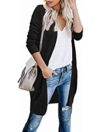 Women's Cardigan Open Front Long Knited Sweaters with Pockets