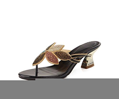 CRC Womens Casual Comfortable Glitter Rhinestone PU Material Flip-flop Sandals Slippers Black