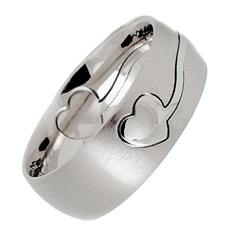 MJ Metals Jewelry 8mm Laser Cut Heart Puzzle Ring Surgical Stainless Steel 316L Ring Size 10.5