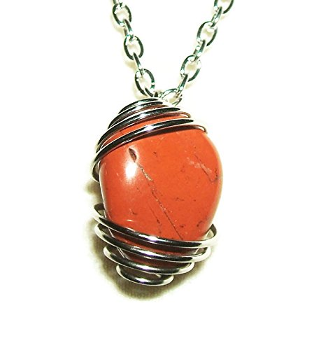 RED-JASPER-NECKLACE-Spiral-Wire-Wrapped-ENDURANCE-COURAGE-WISDOM-Silver-Pltd-Metaphysical-Stone