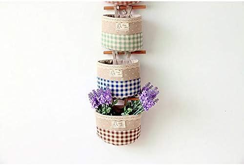 Convenient Home Storage Bag 耐久性のある収納ハンギングバッグ4色の格子縞の壁掛けコットン収納バッグ (Color : Coffee, Size : 16cm x 13cm x 7cm)