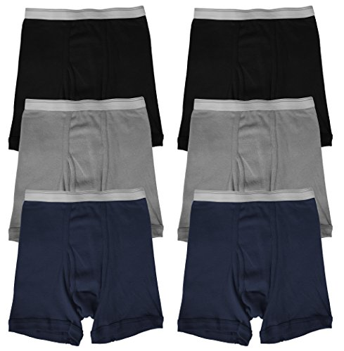 Basico Boys Boxer Briefs Underwear 6-pack (Large, Solid) by BASICO (Image #1)