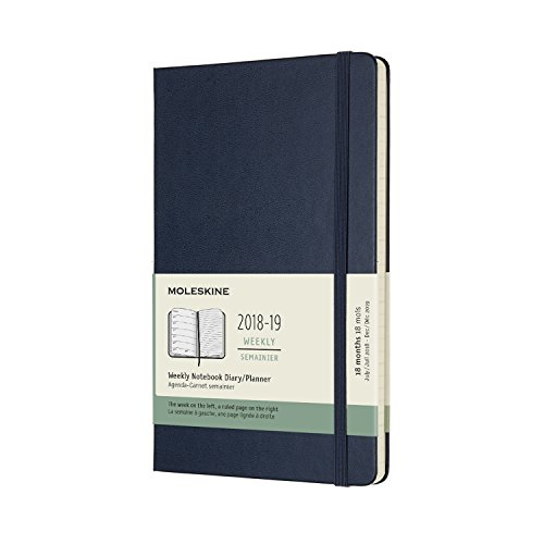 Moleskine 2018-2019 18M Weekly Notebook, Large, Weekly Notebook, Blue Sapphire, Hard Cover (5 x 8.25) Large Weekly Notebook