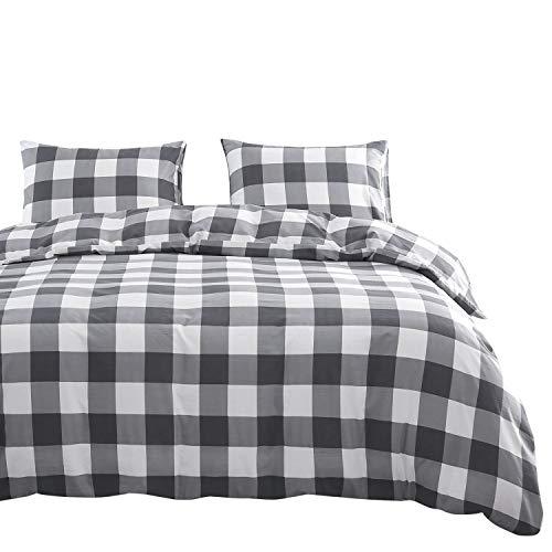 Wake In Cloud - Gray Plaid Comforter Set, Buffalo Check Gingham Geometric Checker Pattern Printed in Grey White, Soft Microfiber Bedding (3pcs, California King Size) California King Plaid Comforter