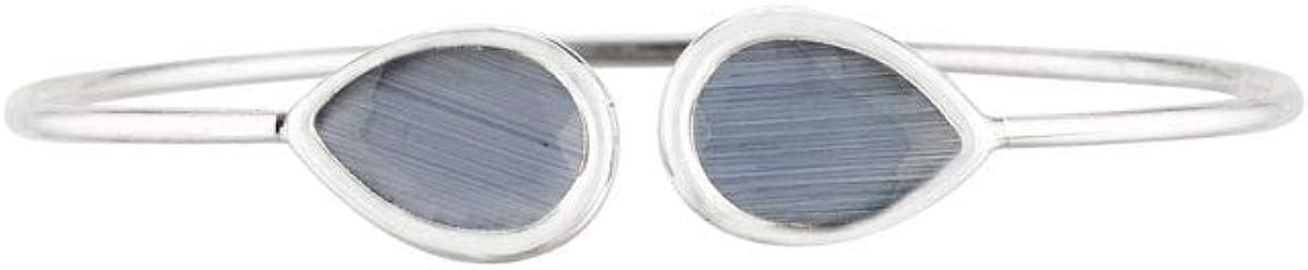 Córdoba Jewels |Pulsera en Plata de Ley 925 con Piedra semipreciosa con diseño Doble Gota Montana Silver