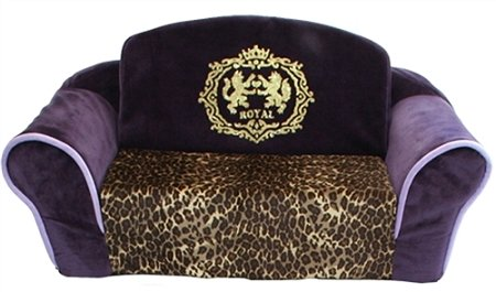 Pet Flys Royal Purple with Leopard Interior Pull Out Pet Sleeper Sofa Bed by Pet Flys
