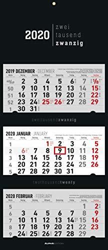 3-Monatskalender 2020 faltbar, Black (Faltbar)