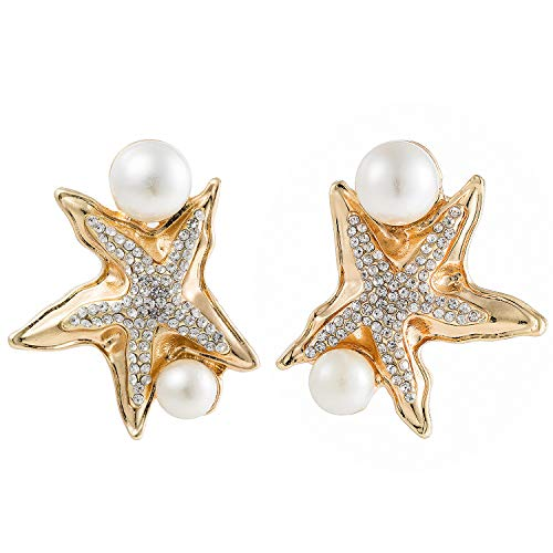 14k Gold Starfish Earrings - 14k Gold Starfish Earrings Studs For Women Fashion Statement Large Rhinestone Pearl Starfish Earrings For Girls Idea Gifts For Mom Sister and Friends