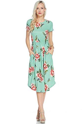 Mint Womens Dress - NeeSee's Dresses Floral Midi Dress (Small, Mint/Pink Floral)