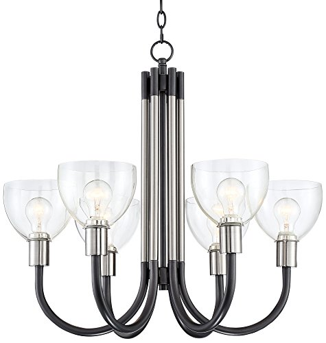 Pasko 27 3/4 Wide Nickel and Gunmetal 6-Light Chandelier Euro Pewter Chandelier