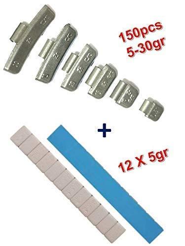 EQUIPEMENT EXPRESS SICOBA Lot 100 Masses d'Equilibrage Adhésifs 12x5gr + 150 Plombs à Frapper 5-30gr autre