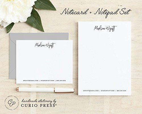 SIGNATURE / 2 Piece Set / Flat + Pad // Personalized Flat Card and Notepad Stationery / Stationary Set