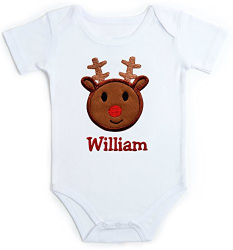 Funny Girl Designs Embroidered Christmas Onesie Bodysuit For Baby Boys With Reindeer Face and Custom Name (0-3 Months, Short Sleeve) (Cute Monogrammed Easter Basket)