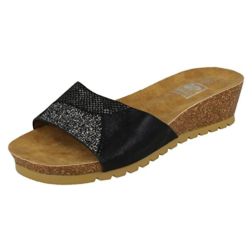 Down To Earth Ladies Mid Cork Wedge Sandals Black Br07WxTT