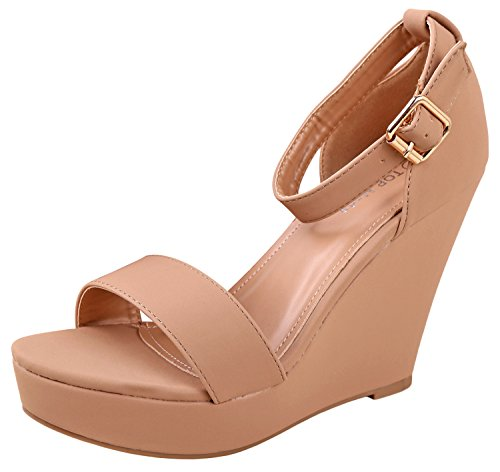 Womens Ankle 1 Tan Fashion Top Moda Sandals Platform Strap Beryl Wedge qawxSB58