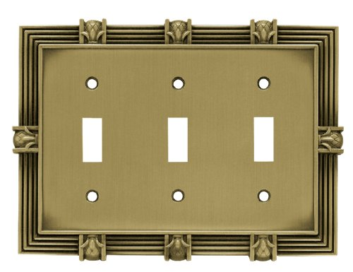 (Franklin Brass 64477 Pineapple Triple Toggle Switch Wall Plate/Switch Plate/Cover, Tumbled Antique Brass)