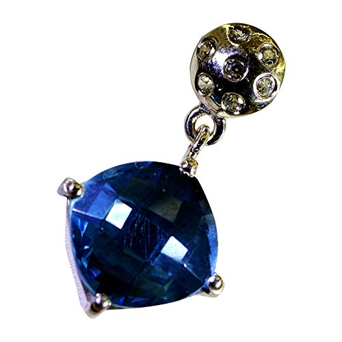 Jewelryonclick Cheker Cushion Shape Real Blue Topaz Birthstone Charm 925 Sterling Silver Pendant (Blue Topaz Birthstone Charm)