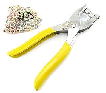 Remaches de ojal con ojales ajuste alicates herramienta para bolsa zapatos de cuero + 100 ojales: Amazon.es: Jardín