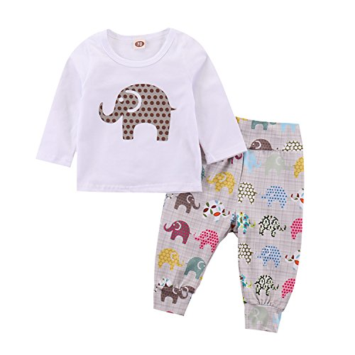Unisex Baby Boys Girls Elephant Print 2-Piece 100% Cotton Pajama Sleepwear Outfits Set (White, 0-6 Months)