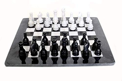 (Scacchiera Italian Black and White Marble Chessboard Handmade Classic Table Chess Set with Pawns Made in Italy 40x40cm 16in)