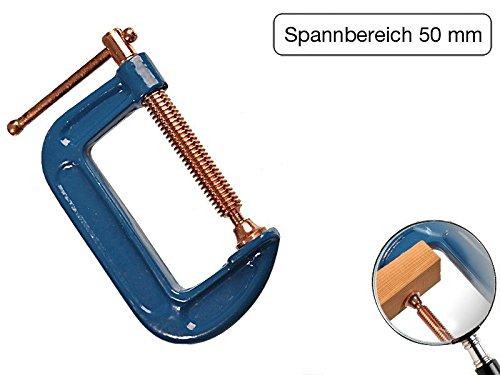 Profi C-Schraubzwinge 50mm robust Stahl-Gewinde verkupfert gegen Schweißperlenbesatz