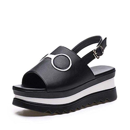 Mujer Toe Correa Sandalias Peep grueso la Tacón Zapatos Zapatos 5cm de De Ascensor tobillo Cuero de cuña 5 Zapatos Tamaño Zapatos la Hueco D'orsay Slingback de de 40 Black 34 Fondo casuales Corte Vestir UE qOwTAZ