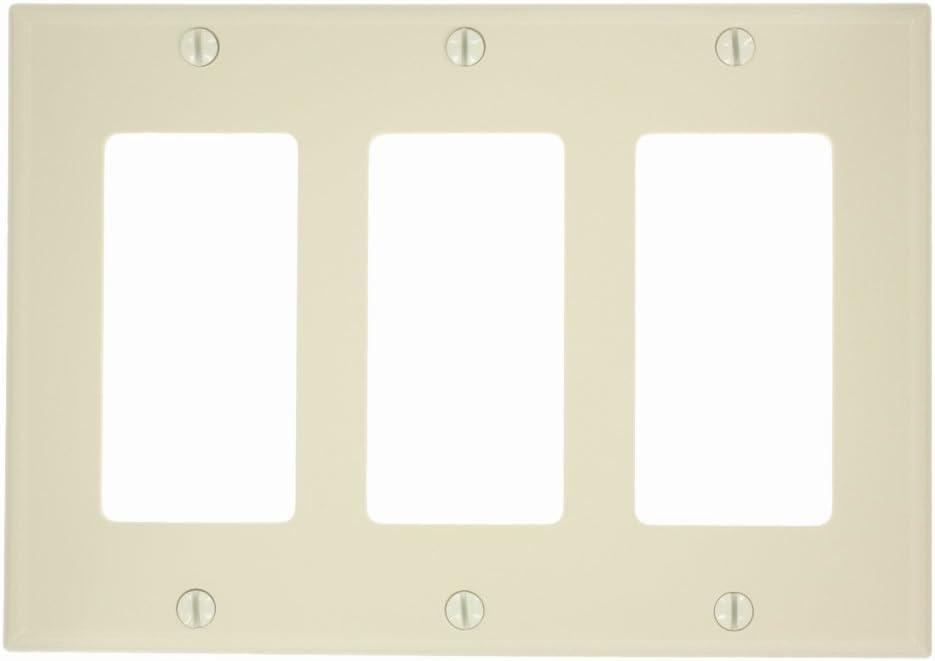 Leviton 80411-NI 3-Gang Decora/GFCI Device Wallplate, Standard Size, Thermoset, Device Mount, Ivory
