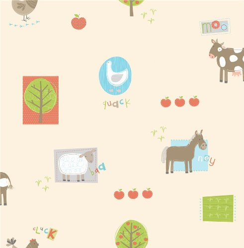 Price comparison product image Fine Decor Hoopla Farm Animals Sidewall peach FREE PASTE with any wallpaper purchase