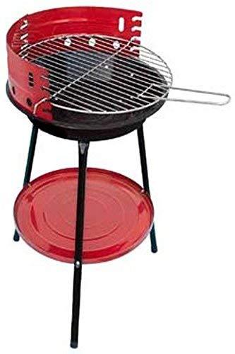 Krevia Metal Foldable Ronde Barbique Grill Rack Oven (Red ans Black)