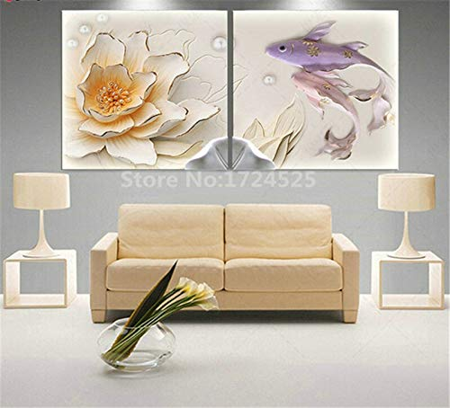GSOLOYL Painting 2 PC 3D Lotus Pictures Pared Lona de Arte de la Pintura Decoracion for Sala de Estar Pintura en la Pared HD Poster (Color Rojo, Size (Inch) 60x60c