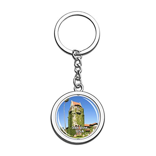 USA United States Keychain San Jose State University Key Chain 3D Crystal Spinning Round Stainless Steel Keychains Travel City Souvenirs Key Chain Ring -
