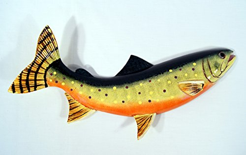 Handpainted Brown Brook Trout Wall Mount Decor Plaque Game Fish Replica - Star Brown Fish