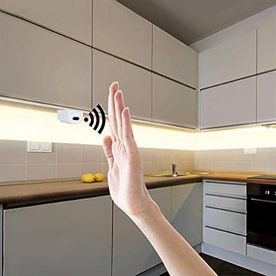JGHR 12V Mano Smart Sweep conmutador de luz de Pared Tira de Cinta de la lámpara del Sensor de Movimiento de la Mano para el Armario de la Cocina decoración del Dormitorio