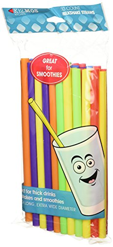 Kizmos Milkshake/Smoothie Straws, Assorted, 50 Count