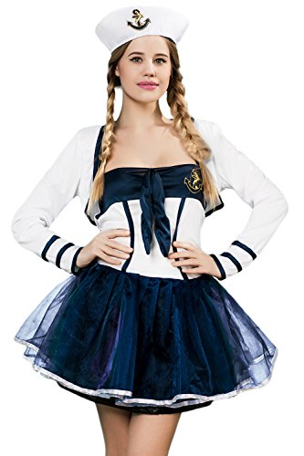 [Adult Women Sailor Girl Halloween Costume Pin Up Sea Babe Dress Up & Role Play (One size fits most)] (Pin Up Girl Costume Halloween)