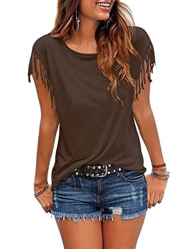 Cosonsen Women's Tassel Short Sleeve Round Neck T-Shirt Top Casual Summer Tee (A5-Browns, X-Large)
